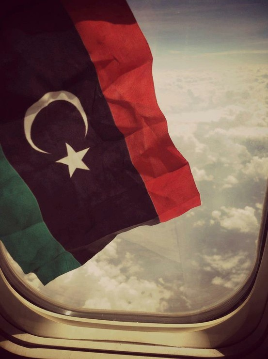 libyan flag in an airplane