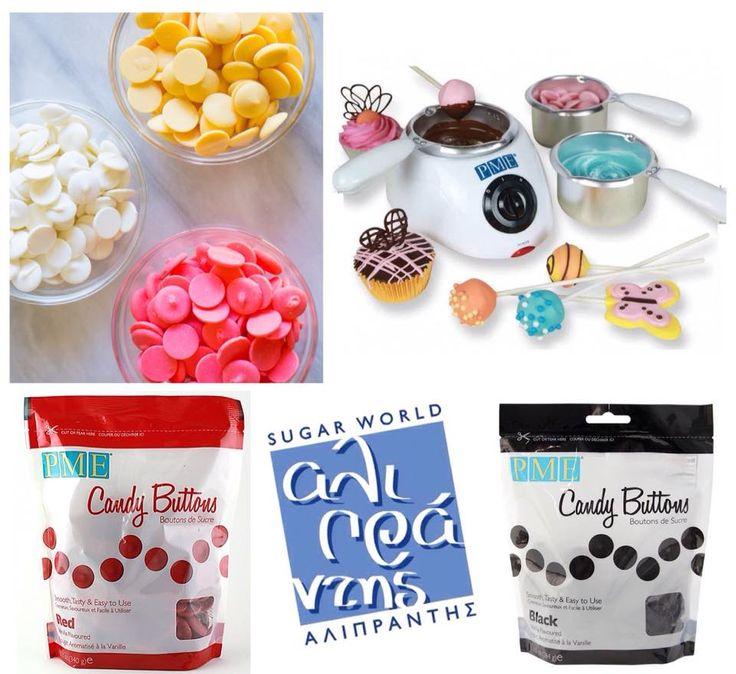 Tα Candy Buttons της ΡΜΕ έχουν την υφή και τη συνοχή της σοκολάτας, αλλά κανένα από τα συνήθη προβλήματα καθώς δεν απαιτείται καμία επιπλέον επεξεργασία ;)  Βρείτε τα candy melts σε ποικιλία χρωμάτων, το ηλεκτρικό φοντύ σοκολάτας και όλα τα απαραίτητα για σοκολατοδημιουργίες όπως βέργες γλειφιτζουριών, φόρμες σιλικόνης και φόρμες για σοκολατάκια, στο ηλεκτρονικό μας κατάστημα!
