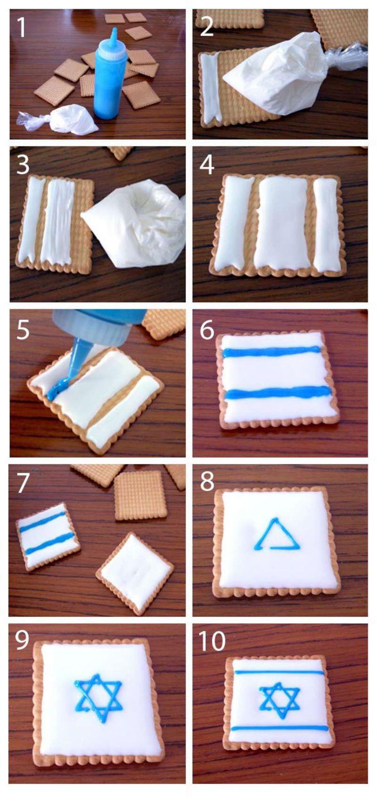 רעיון נחמד וקל ליום העצמאות - עוגיות פטיבר עם רויאל אייסינג  sweet idea for Israel Independence Day - cookies with royal icing.