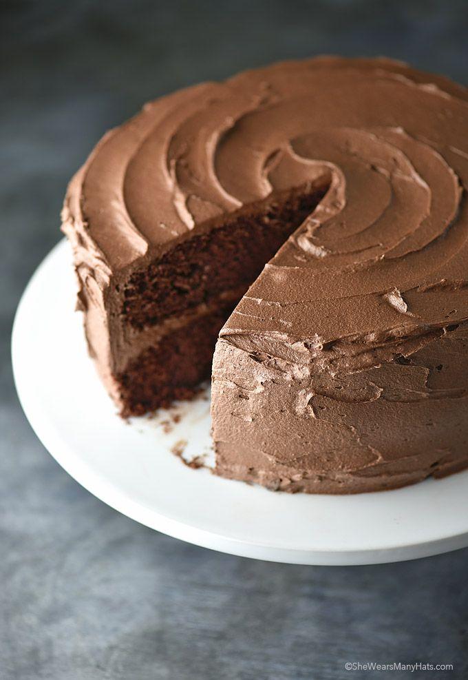 Perfect Chocolate Cake Recipe with Chocolate Buttercream from shewearsmanyhats.com