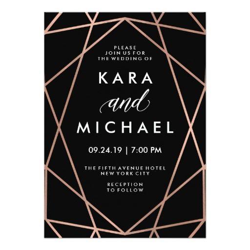 Modern Geometric Faux Rose Gold on Black Wedding Card