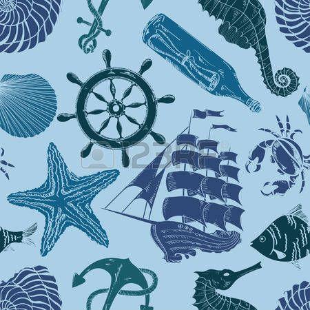 Mão azul náutico desenhado padrão sem emenda photo