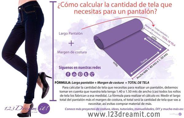 Calcula súper fácil cuanta tela debes comprar para hacer un pantalón. Da click en la imagen para ampliarla y ver a detalle como hacer este sencillo cálculo, así no desperdiciarás nada.