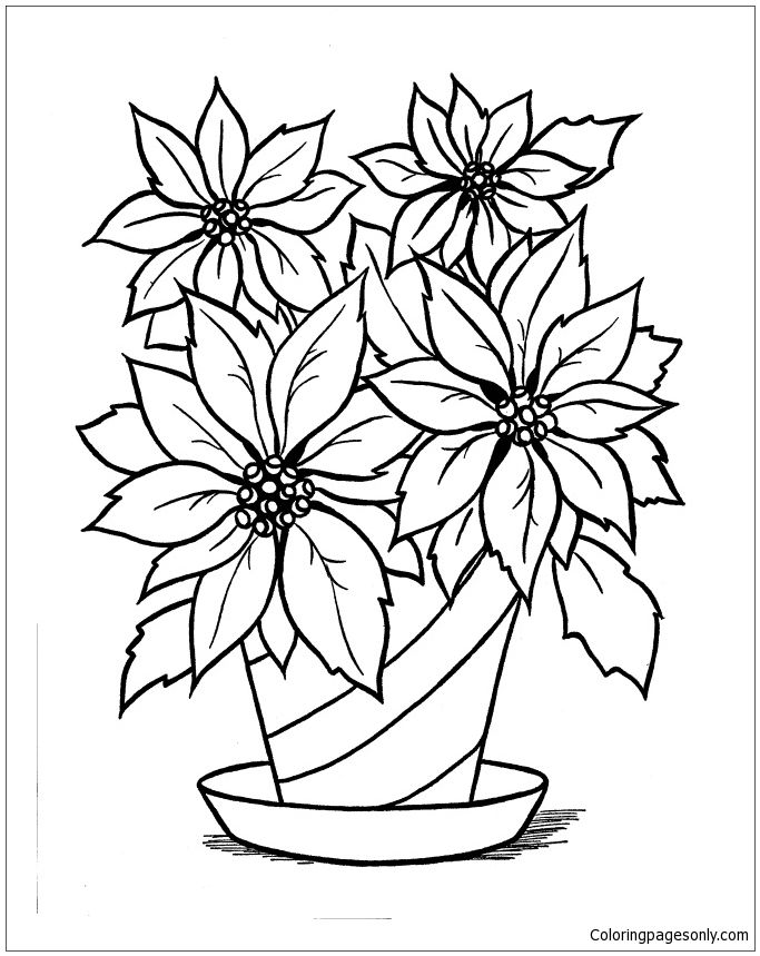 Christmas Poinsettia Coloring Page Flower Coloring Pages Christmas Coloring Pages Flower Printable