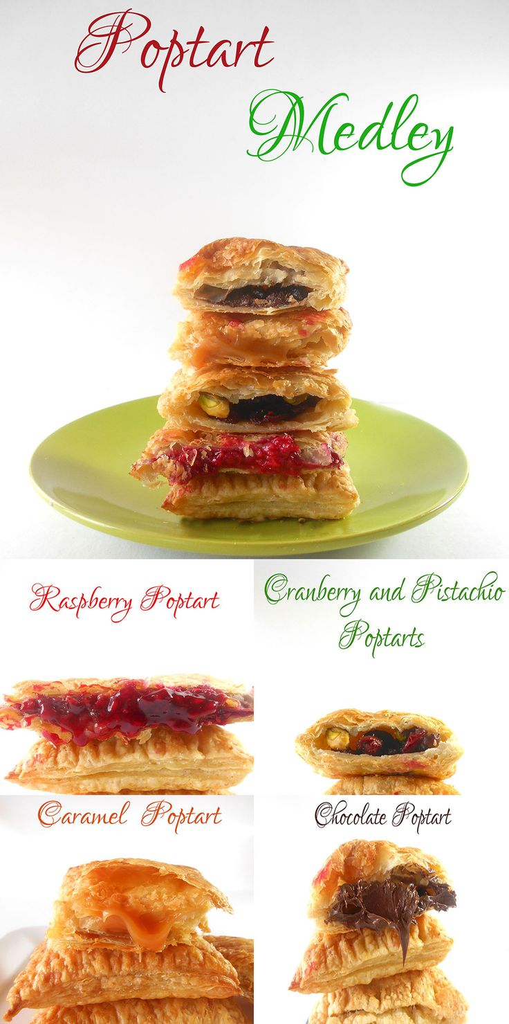 Homemade Pop Tarts Recipe made using Puff pastry.  Filled with raspberry, Caramel, Chocolate, pistachios and cranberries.