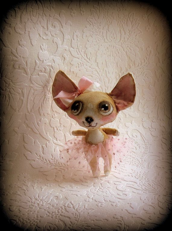 Little Chihauha cloth doll by suziehayward on Etsy, $64.00