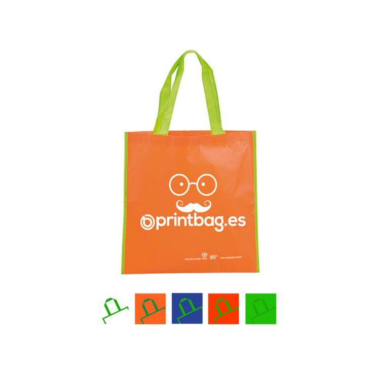 Bolsas para comercios publicarias color naranja pet reciclado.