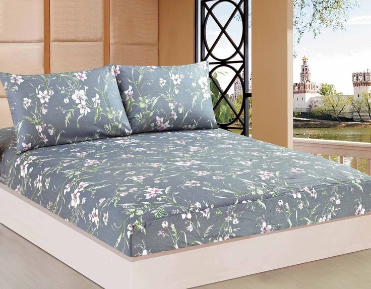 Tache 2-3 PC 100% Cotton Cherry Blossom Dusk Floral Grey Rustic Fitted Sheet Set