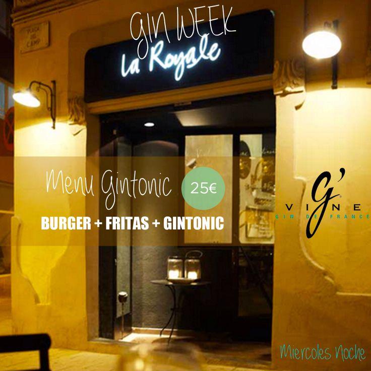 """Los miércoles noche puedes disfrutar en #LaRoyale de nuestro """"Menú Gin Tonic"""" por solo 25€.  Elige una #hamburguesa de la carta, unas fritas y marídalas con un Gin Tonic Premium de G'Vine Gin Spain.  #PacoPérez #Barcelona #HamburguesasDeAutor #MenuGinTonic"""