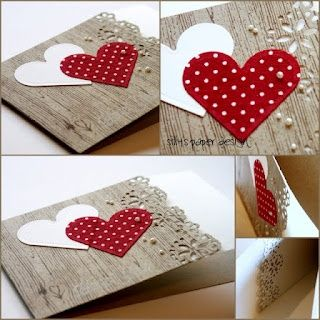 Valentine card ... woodgrain print cardstock ... lacy flower borderpunch ... two heart ... fresh look ...