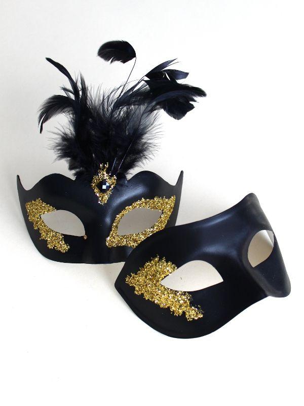 Couple's Vanity Black & Gold Masquerade Masks