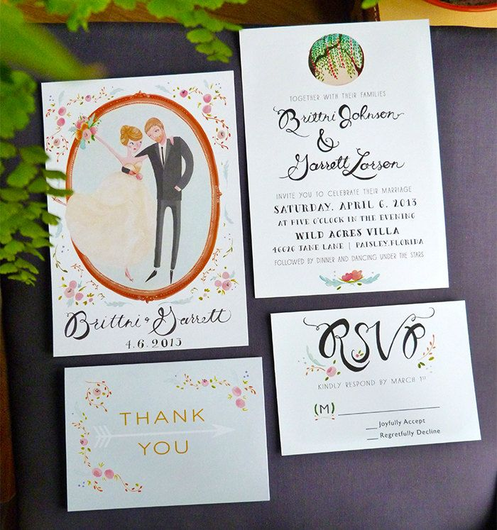 Spring Floral Wedding - 100 Custom Save the Dates, Invitations, Thank you and RSVP cards. £350.00, via Etsy.