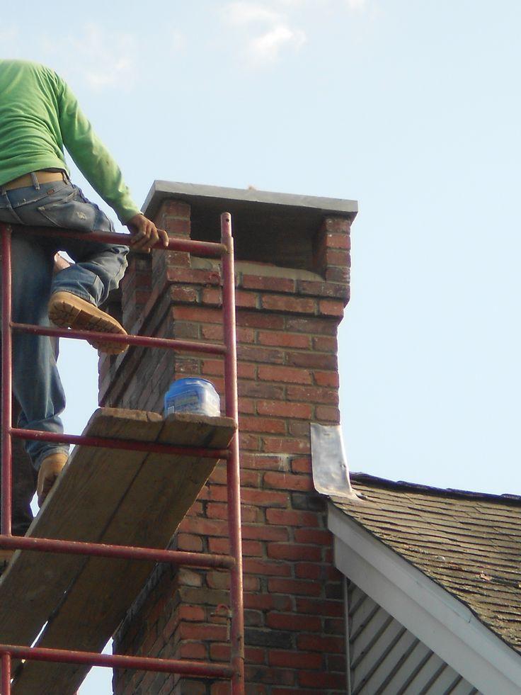 Chimney Rebuild With A Bluestone Cap Look At Nice Brick