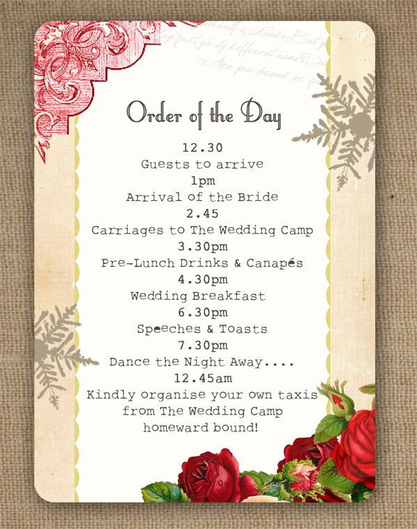 Winter Wonderland Vintage Christmas Themed Wedding Order Of The Day Or Service Card By