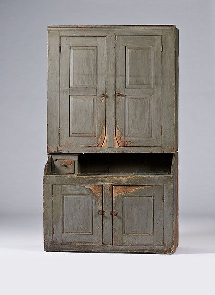 New England Painted Step Back Cupboard,. Antique Painted FurniturePrimitive  FurnitureCountry ...