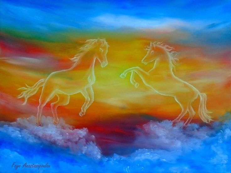 Interior Decor, Inspiration, ideas, items, for sale, colorful, blue, horses, sunset, sky, fantasy, contemporary, unique, impressive, cool, artistic, artwork, painting, Metal Print