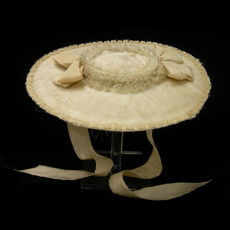 Woman's hat, cream silk over straw 1760-1785