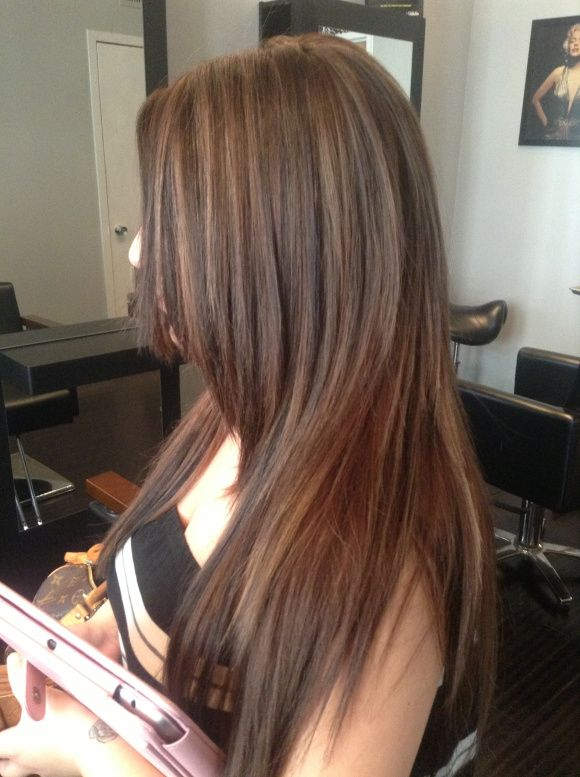 brunette with caramel highlights � west palm beach hair