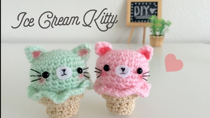 DIY Kitty Ice Cream Amigurumi Crochet Tutorial, Youtube, wriiten pattern in comments, play food, #haken, gratis patroon (Engels), fimpje, uitgeschreven patroon (Engels) in commentaren, amigurumi, voedsel, knuffel, ijsje, kraamcadeau, decoratie, #haakpatroon, kat, Hello Kitty