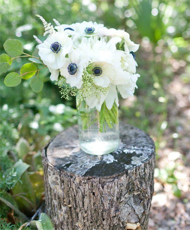 Elderflower + navy centered anemones, white peonies, soft pink astilbe and seeded eucalyptus