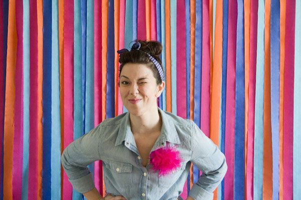 DIY photography backdrop - colorful streamers - this can be customized with any color theme/combo you want