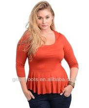 OEM Fat Women Plus Size Clothes Orange Long Sleeve Tshirt with Pleated Edge TX0013  best buy follow this link http://shopingayo.space