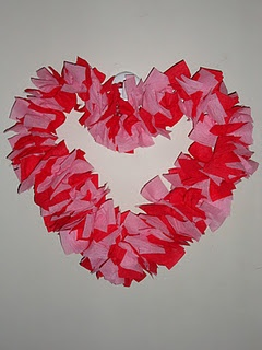Finished Wire Hanger Crepe Paper Heart. -- I did mine with white and red crepe paper though :)