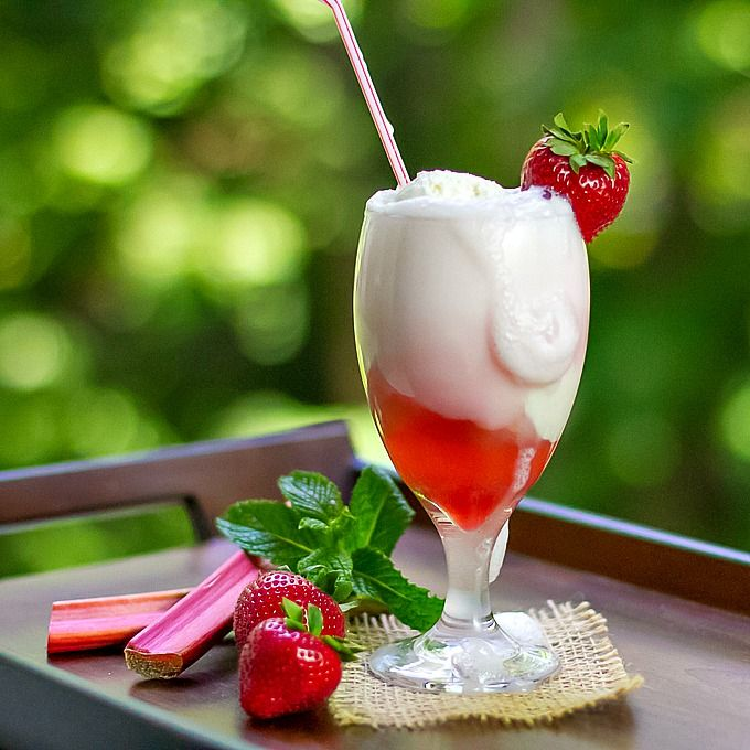 Strawberry Rhubarb Float with homemade strawberry rhubarb syrup