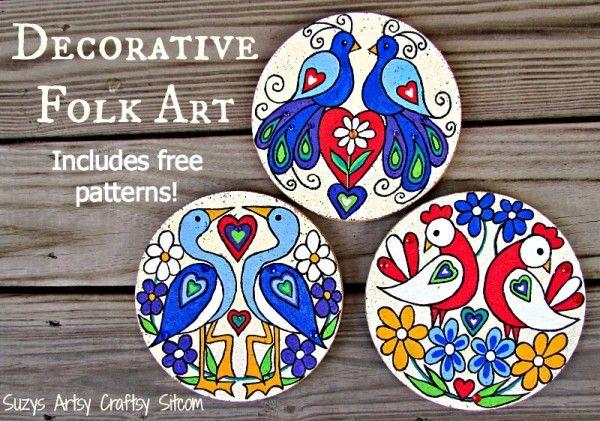 Best 20 bird decorations ideas on pinterest bird wall for Folk art craft paint