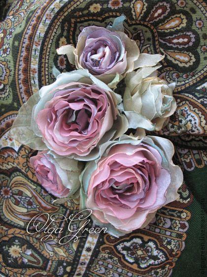 """Цветы из ткани. Брошь """"Вереск"""" - брошь цветок,цветочная композиция,цветочное украшение"""