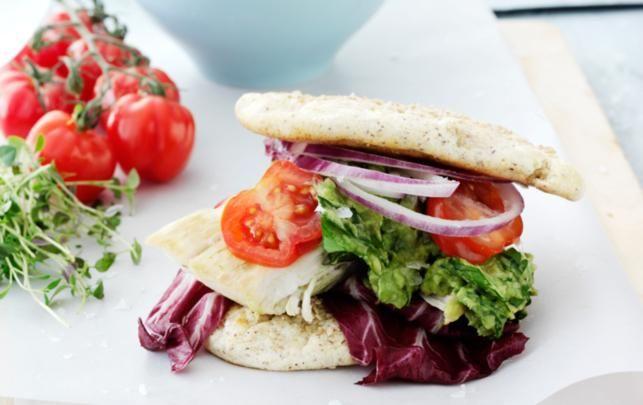 Kulhydratfattig kyllingeburger med auberginefritter