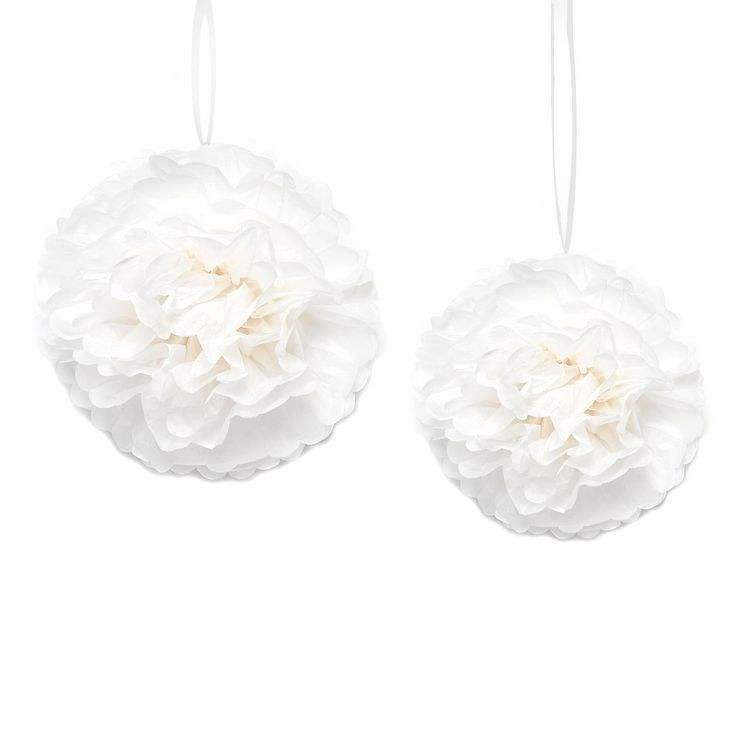 Wedding Inspiration   Pom Pom Set weiß ca D:40 cm + D:20 cm 2-teilig   Depot Online