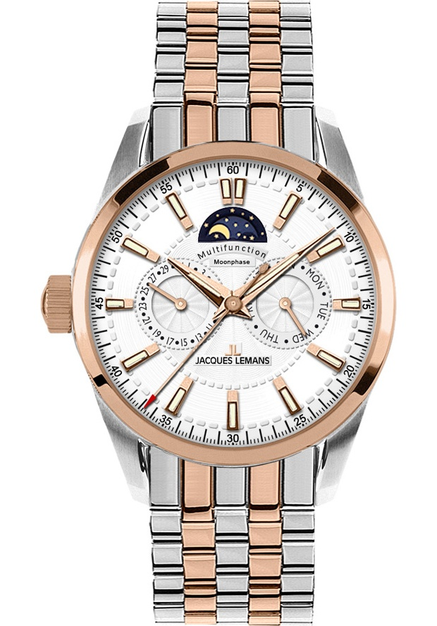 Price:$119.40 #watches JACQUES LEMANS 1596I, Liverpool Moon Phase - a cool watch with integrated Moon Phase indication. In addition this beautiful multifunction watch is featuring a month- and date indication. A grand gent's watch with practical extra benefit!