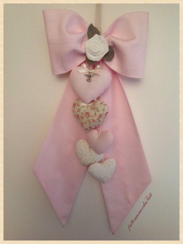 Fiocco nascita in piquet di cotone rosa con rosellina e cuori, by fattoamanodaTati, 30,00 € su misshobby.com