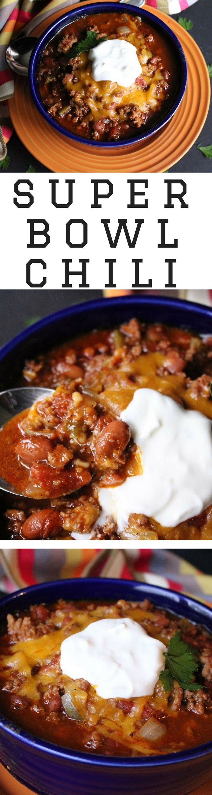 Superbowl Chili | Chunky and full of texture, this chili isn't for the faint of heart. It has some kick behind it. I love the mixture of pork and ground beef - it adds something a little different. The robust flavor from the chili powder and cumin really makes this yummy. Cheese and sour cream mellow this a little and are the perfect topping.