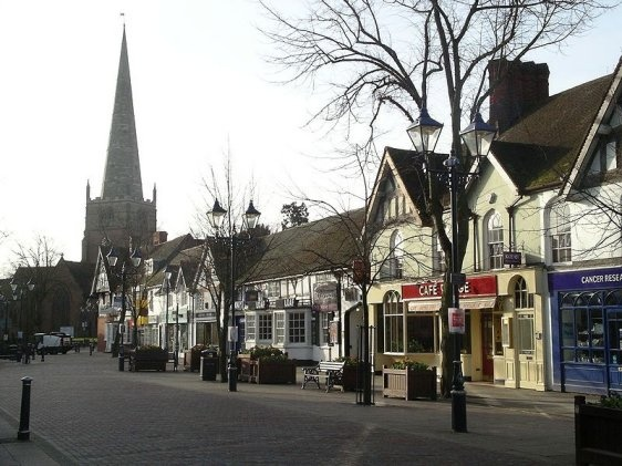 Solihull, West Midlands, England, with St Alphege's Church in the background