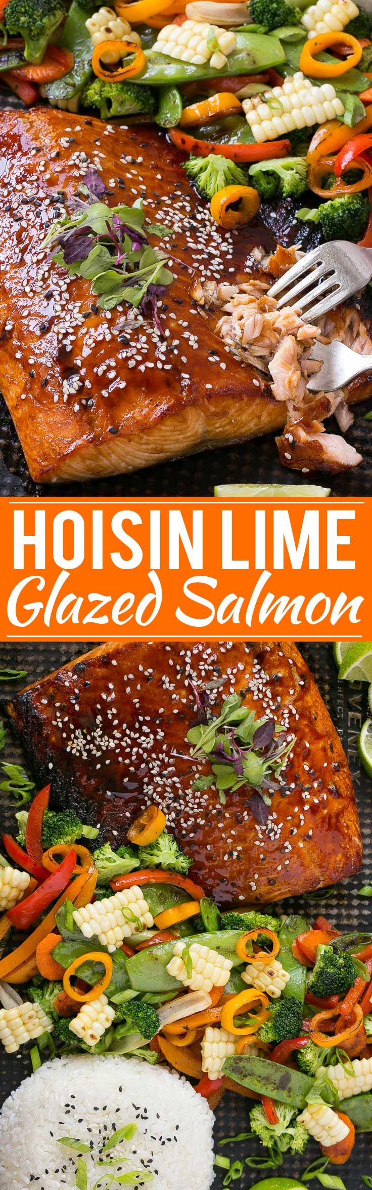 Hoisin Lime Glazed Salmon with Mixed Vegetables - The salmon and vegetables cook together on the same pan for a quick, healthy and easy dinner!