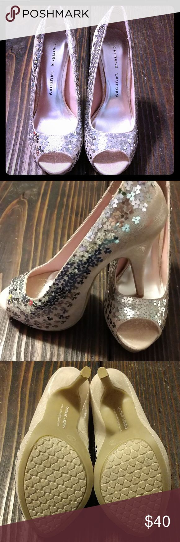 NWOT Chinese Laundry Peep Toe Pumps NWOT. Pinky, peachy sparkly fabric peep toe platform pumps. No box. Chinese Laundry Shoes Heels
