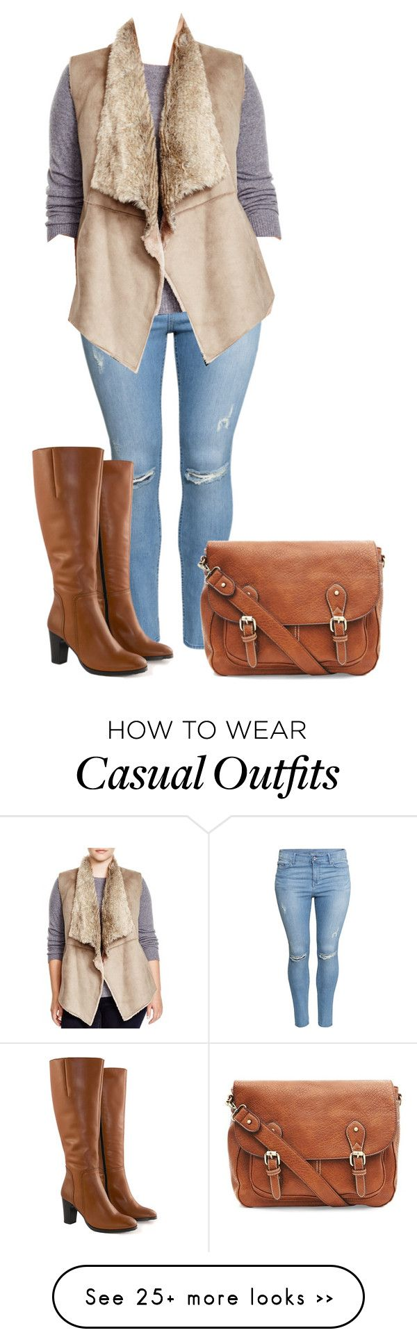 """Casual"" by ltspork on Polyvore featuring H&M, Jilsen Quality Boots, NIC+ZOE and plus size clothing"