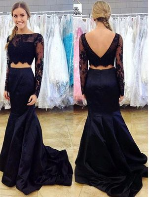 Navy Blue Two Piece Prom Dress, Long Sleeve Lace Prom Dresses, Mermaid Crop Top Prom Dress