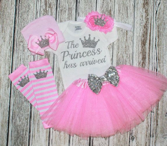 The Princess has arrived - Coming home outfit girl - newborn girl - baby shower gift - princess tutu set. Starting at $20