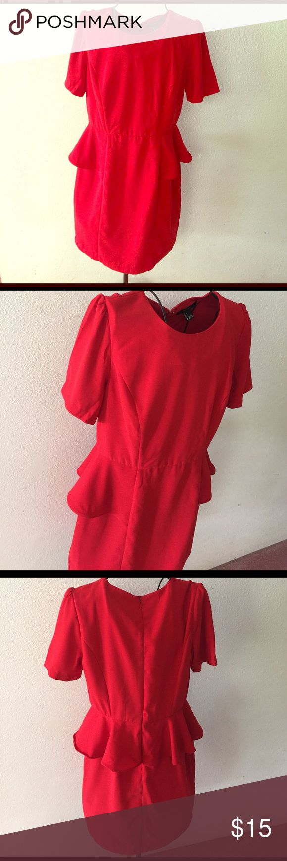 Classic Red Peplum Dress By Forever 21 Like new - never worn! 100% polyester, above knee, empire waste, longer short sleeved, and not to mention a beauty for all occasions. Vintage throw back. Forever 21 Dresses Mini