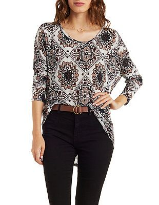 Printed Slouchy Dropped Shoulder Top: Charlotte Russe