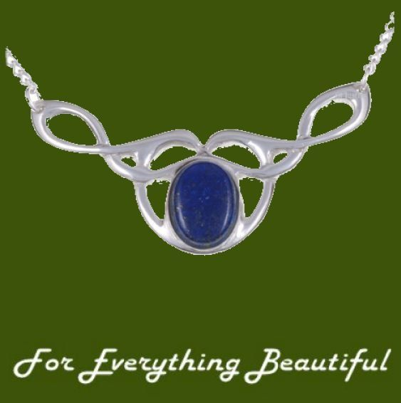 Celtic Bird Knotwork Lapis Lazuli Design Stylish Pewter Necklace