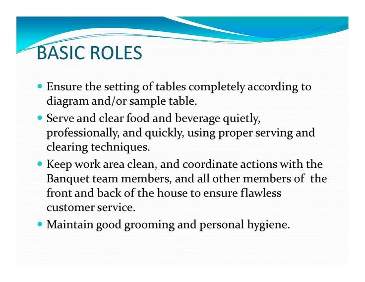 banquet server duties for resume