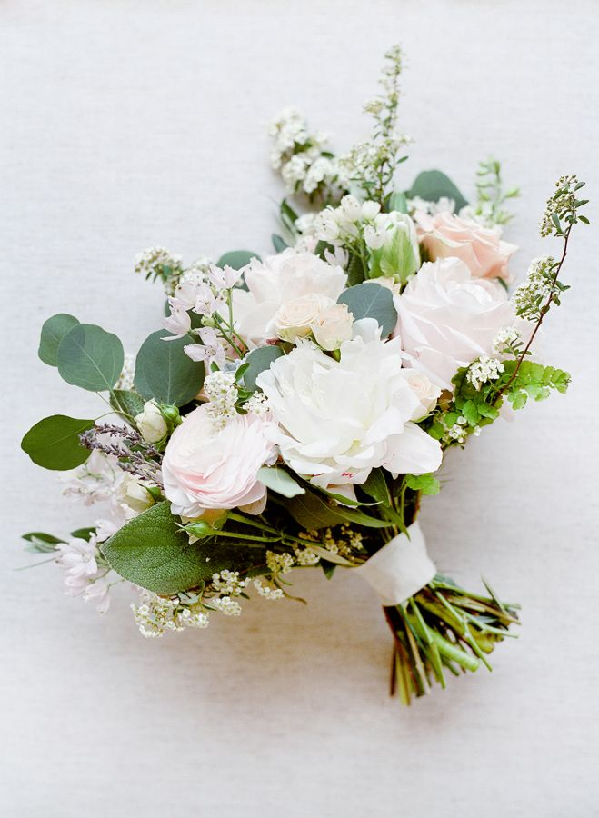 Rose and eucalyptus wedding bouquet: http://www.stylemepretty.com/2017/01/26/pink-black-tie-wedding/ Photography: Lacie Hansen - http://laciehansen.com/
