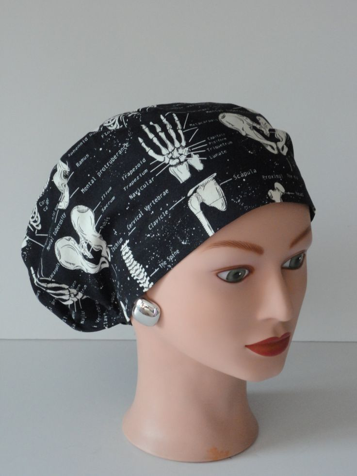 Surgical Scrub Hat...Glow in the Dark Bones...X-Ray Tech/Orthopedics/Scrub Hats for Women by TwoSew on Etsy