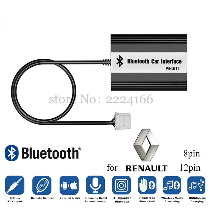 63.18$  Buy now - http://ali1ts.worldwells.pw/go.php?t=32700928952 - Brand Car Bluetooth A2DP Adapter for Renault 8pin 12pin Clio Avantime Master Modus scenic traffic Interface MP3 music Players 63.18$