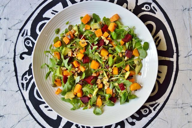 Butternut Squash, Beetroot and Avocado Salad GF SCD