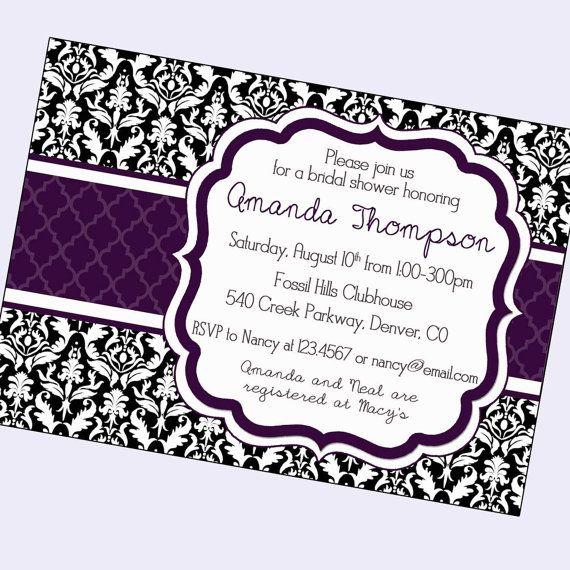 Damask bridal shower invitation black and white damask for Black and white bridal shower invitations